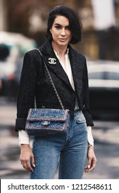 October 2, 2018: Paris, France - Street style outfit during Paris Fashion Week  - PFWSS19