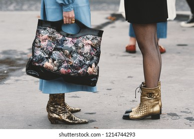 October 2, 2018: Paris, France - Chanel outfit after Chanel fashion show during Paris Fashion Week  - PFWSS19