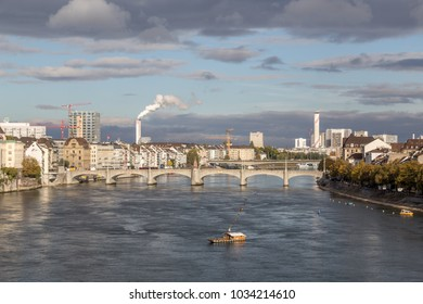 October 20, 2016 - Basel, Switzerland: View over the city and the river Rhine