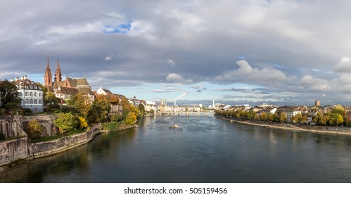 October 20, 2016 - Basel, Switzerland: Panoramic view of the city and the river Rhine