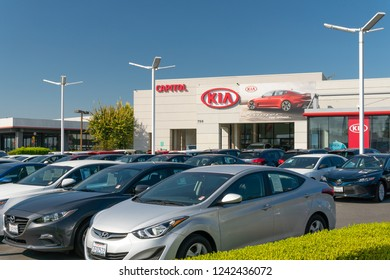 OCTOBER 20, 2018:  Kia Autombile Dealership Sign. Kia is a South Korean manufacturer of automobiles and commercial vehicles.