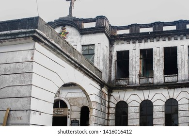 October 20, 2018-Baguio City Philippines : Rustic and white painted diplomat hotel in Baguio City. Known to be haunted that became a tourist spot at the summer capital of the Philippines.