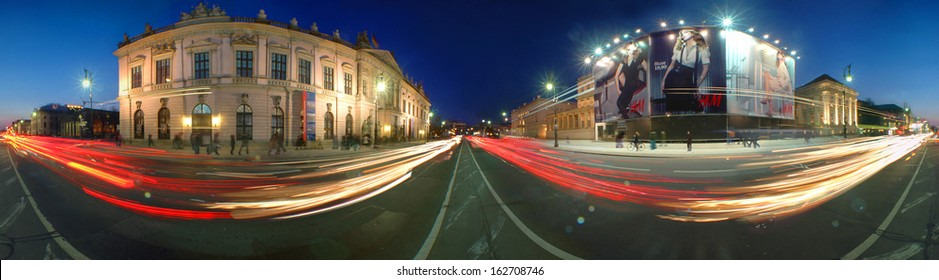 """OCTOBER 2009 - BERLIN: a  360 degree panorama of the boulevard """"Unter den Linden"""" in the Mitte district of Berlin."""