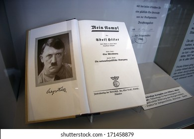 "OCTOBER 2010 - OBERSALZBERG: the book ""Mein Kampf"" (My Fight) by German Nazi dicator Adolf Hitler, exhibit in the documentary center on Nazi-Germany, Obersalzberg, Berchtesgaden, Bavaria, Germany."