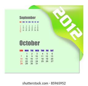 October of 2012 calendar