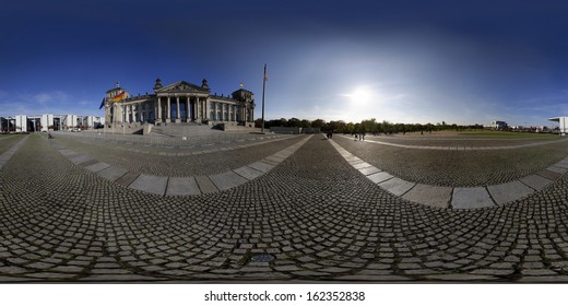 OCTOBER 2013 - BERLIN: a 360 x 180 degree panoramic image of the Reichstags building in the governmental district of Berlin.