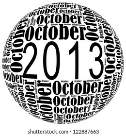October 2013 info-text graphics arrangement on white background