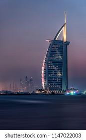 October 2015 - Dubai, UAE - Burj Al Arab viewed from Jumeirah public beach