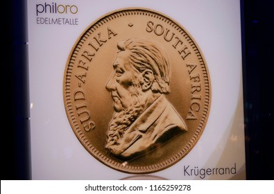 "OCTOBER 2016 - BERLIN: the classic South African gold coin ""Kruegerrand""."