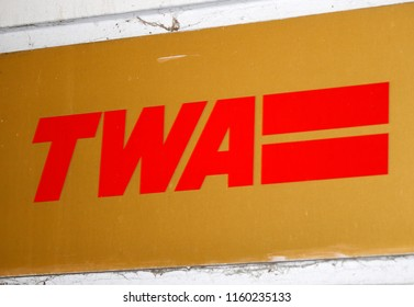 "OCTOBER 2016 - BERLIN: the logo of the brand ""TWA Trans World Airlines""."