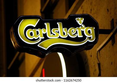 "OCTOBER 2016 - BERLIN: the logo of the brand ""Carlsberg""."