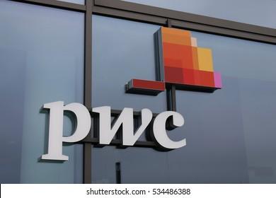 "OCTOBER 2016 - BERLIN: the logo of the brand ""pwc"", Berlin."