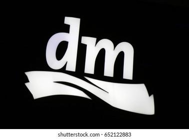 "OCTOBER 2016 - BERLIN: the logo of the brand ""DM"", Berlin."