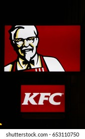 "OCTOBER 2016 - BERLIN: the logo of the brand ""KFC Kentucky Fried Chicken"", Berlin."