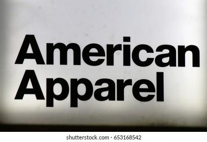 "OCTOBER 2016 - BERLIN: the logo of the brand ""American Apparel"", Berlin."