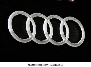 "OCTOBER 2016 - BERLIN: the logo of the brand ""Audi"", Berlin."