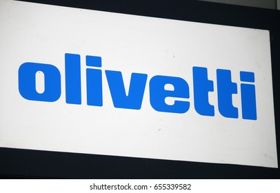 "OCTOBER 2016 - BERLIN: the logo of the brand ""Olivetti"", Berlin."