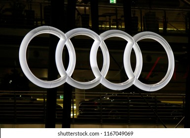 "OCTOBER 2016 - BERLIN: the logo of ther brand ""Audi""."
