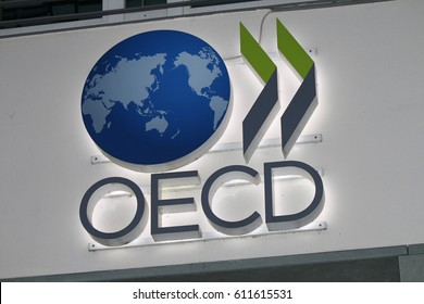 """OCTOBER 2016 - BERLIN: ther logo of the brand """"OECD"""", Berlin."""