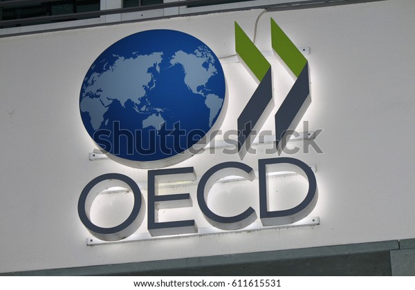 "OCTOBER 2016 - BERLIN: ther logo of the brand ""OECD"", Berlin."