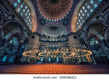 October 2016 - Istanbul, Turkey - Inside the Suleymaniye mosque in Istanbul