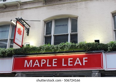 October 2016, London - Red and white exterior signage for the Maple Leaf - a public house located in London's West End