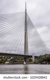 OCTOBER 2017, BELGRADE SERBIA: Bridge over Ada - Most na Adi -, contemporary bridge over Sava river as viewed from a boat
