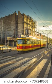 OCTOBER 2017, BELGRADE SERBIA: Tram driving on the rail in the busy street in the center of Belgrade, Serbia