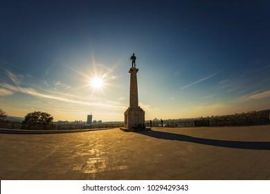 OCTOBER 2017, BELGRADE SERBIA: Victor monument, known as Pobednik, standing pristine on Kalemegdan, Belgrade historic fortress