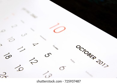 October 2017 of calendar page important day for background.