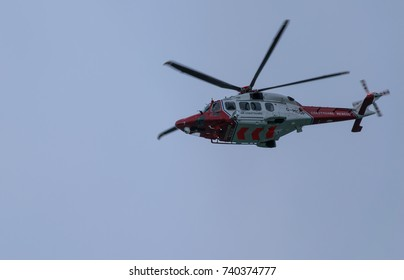 October 2017. Coastguard helicopter airborne. This is a UK coastguard helicopter in the sky above the UK.