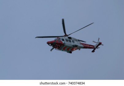 October 2017. Coastguard helicopter airborne. This is a UK coastguard helicopter above the UK.