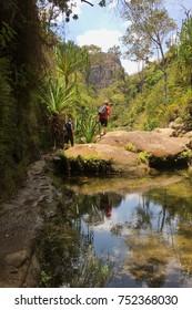 October 2017: isalo, Madagascar: Hiking through the canyon in Isalo National Park, Madagascar