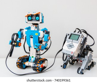 October, 2017. Minsk, Belarus. STEM education class. Robotics. The Lego Boost robot with friend Lego Mindstorms EV 3.  Science, technology, engineering, mathematics. The toy won the Year Award.