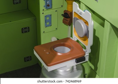 October, 2017 - St. Petersburg. Toilet on the international space station. Space Museum. Russia, Saint-Petersburg