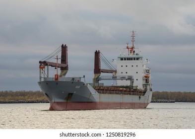 "October, 2018 - Arkhangelsk. Cargo ship ""Kaya"". Russia, Arkhangelsk"
