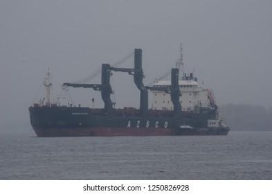 """October, 2018 - Arkhangelsk. Dry cargo vessel """"Vasily Vasilyev"""". Russia, Arkhangelsk"""