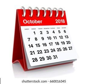 October 2018 Calendar. Isolated on White Background. 3D Illustration
