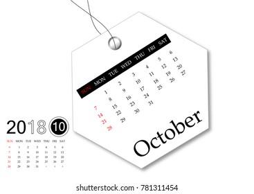 October 2018 - Calendar series for tag design