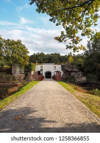 October 2018 - Duffel, Belgium: The entrance to the publicly accessible Fortress of Duffel near Mechelen, Belgium