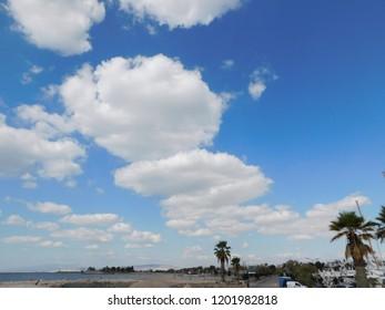 October 2018, Glyfada, Greece. Clouds over the city coast