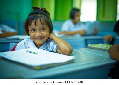 In October 2018, Karen children are studying in classroom at Banbongtilang School.This Thai government school was located on Bong Ti,Sai Yok ,Kanchanburi,Thailand,western border to Myanmar.