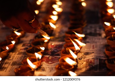 October 2018, Kolkata, India. Lamp lighting on occassion of Diwali and Sandhi Puja. Diwali is a worldwide famous hindu religious festival.