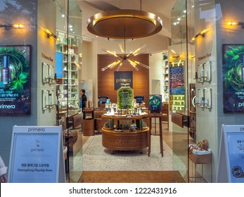 October 2018 - Seoul, South Korea: The flagship store of the South Korean luxury skincare brand Primera in Myeongdong district in Seoul