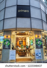 October 2018 - Seoul, South Korea: The flagship store of the South Korean luxury brand Primera in Myeongdong district in Seoul
