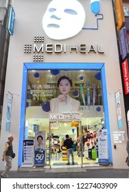 October 2018 - Seoul, South Korea: Flagship store storefront of the South Korean medical skincare brand Mediheal in Myeongdong shopping district