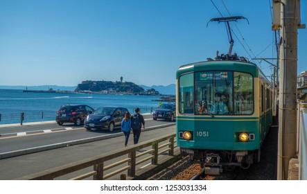 OCTOBER 2018,Kamakura,Japan : Enoden Lineis the most useful transportation that links Fujisawa and historical city Kamakura via Enoshima.