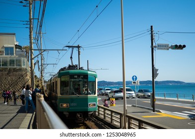"""OCTOBER 2018,Kamakura,Japan : """"Kamakura koko mae"""" station of Enoden Line is a famous spot used for film and drama location. There are also many foreign tourists."""
