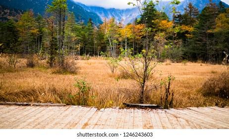 OCTOBER 2018,Kamikochi ,Nagano,Japan; Beautiful  Mt. Yakedake  view at Kamikochi National Park