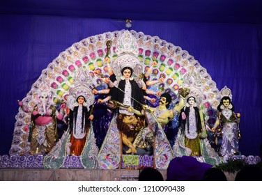 October 2018,Kolkata,West Bengal, India.Godess Durga idol in a Pandal.Durga Puja is the most important worldwide hindu festival for Bengali community